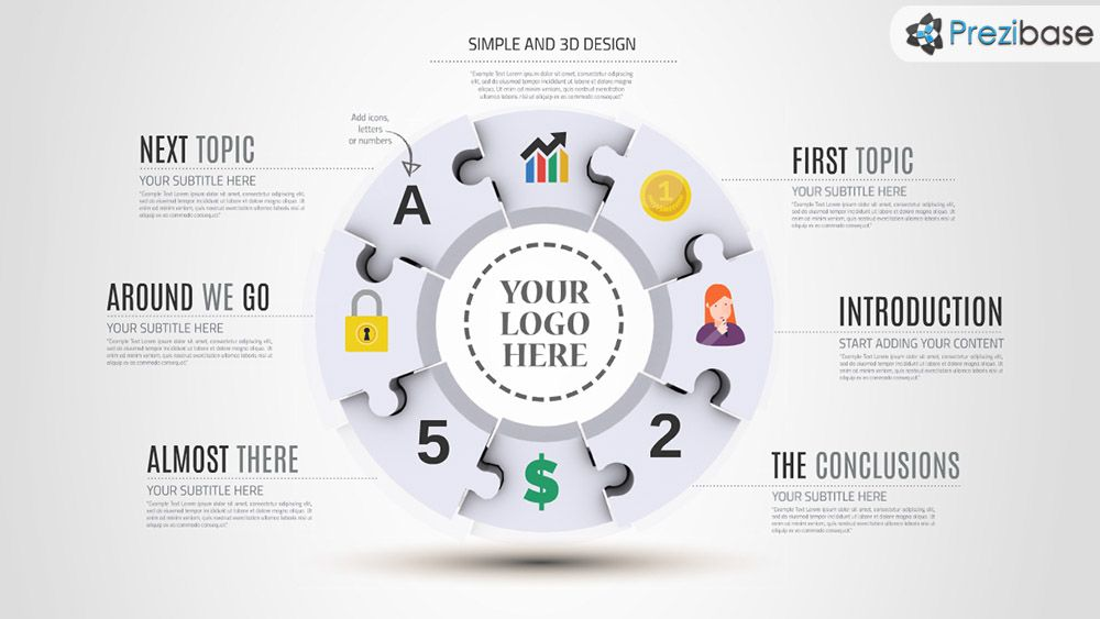 D Round Puzzle Infographic Prezi Presentation Template  Prezi