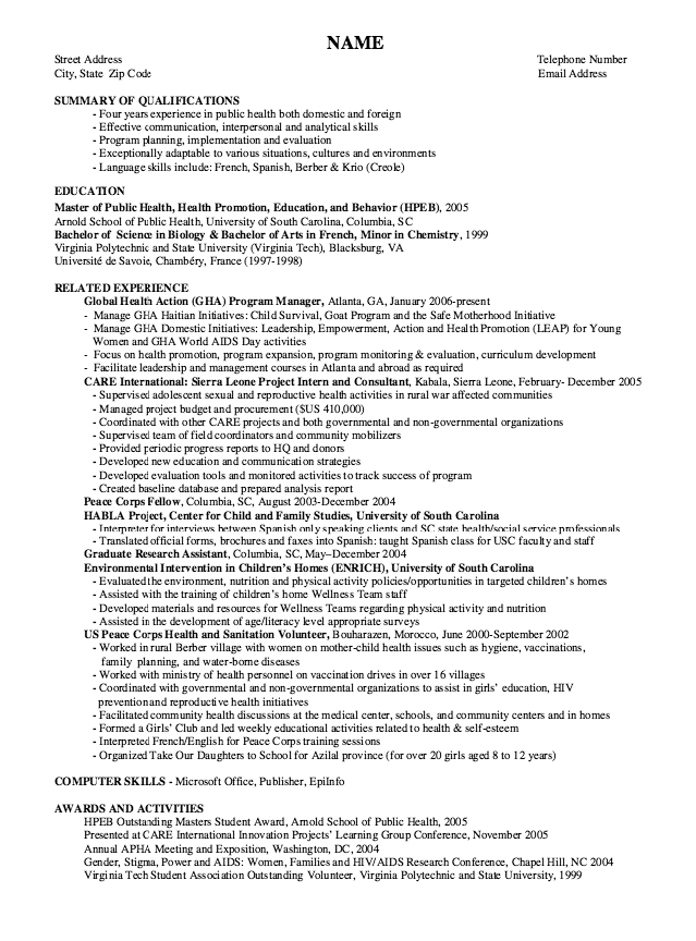 exle of health education promotion resume http
