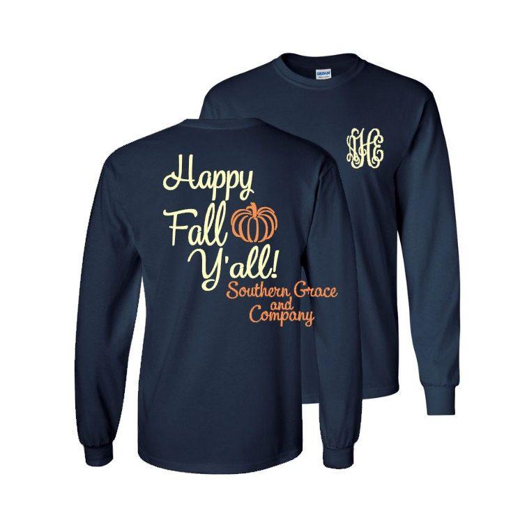Long Sleeve Monogram T Shirt 1 Happy Fall Y All