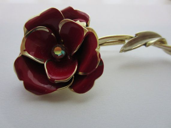 Vintage brooch CORO SIGNED Red Enamel and by pillowtalkswf on Etsy, $12.95