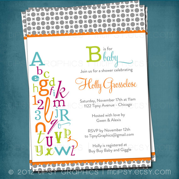 Alphabet Baby Shower Invitation Abc Library Invite Bring A Letter