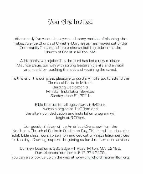 Sample Invitation Letter For Guest Speaker At Church Fresh Formal