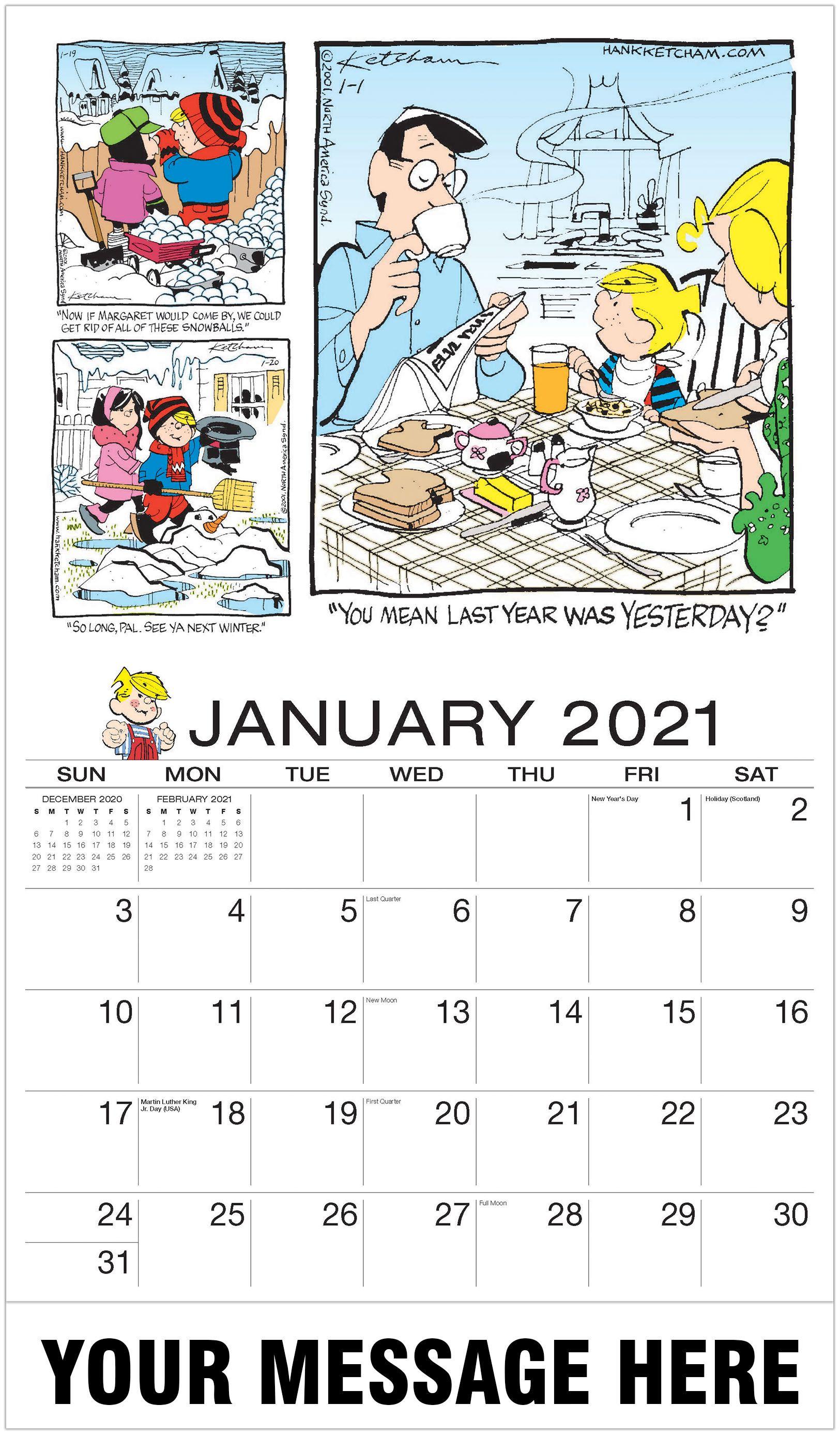 Dennis The Menace In 2020 Dennis The Menace Art Calendar Advertising Calendar