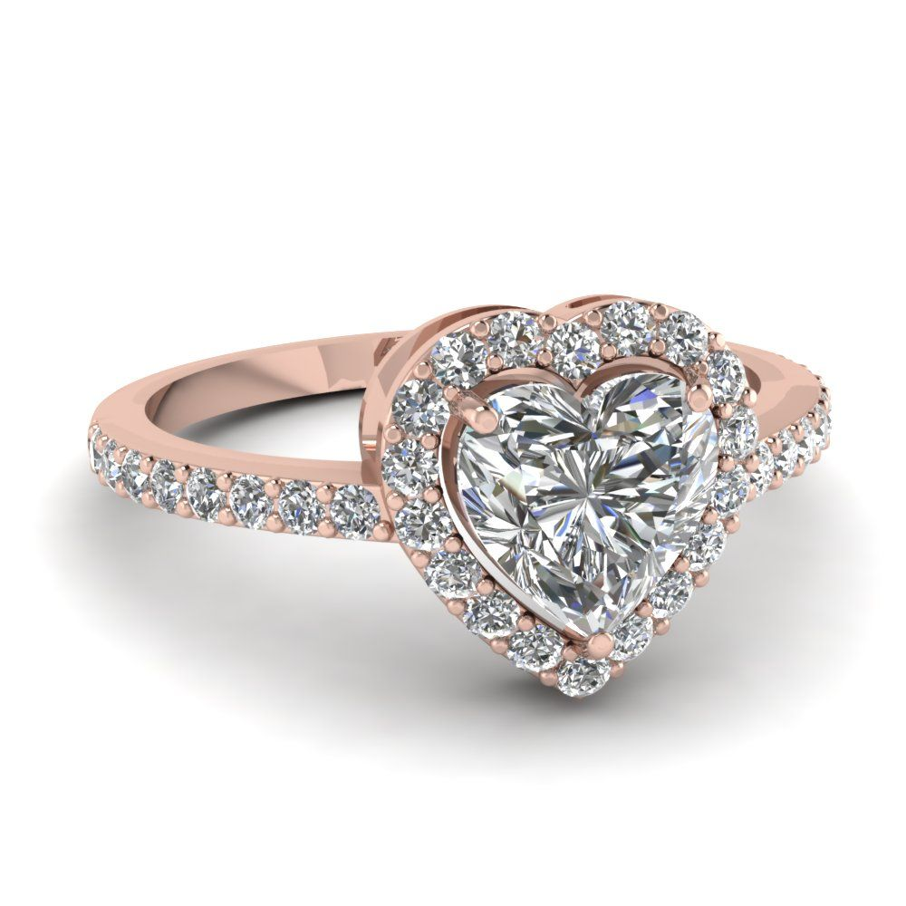 Heart Shaped Halo Diamond Engagement Ring In 14k Rose Gold Heart