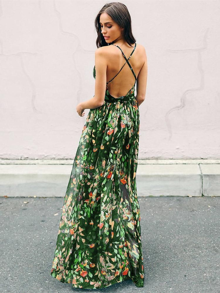 d66b8baca8f Bohemia V-Neck Backless Maxi Dress in 2019