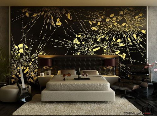 abstract black yellow wall murals wit luxury bedding sets and dark lounge chairs in modern bedroom