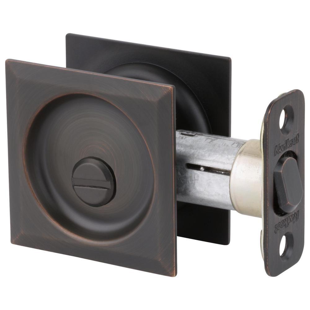 Kwikset Venetian Bronze Square Bed Bath Pocket Door Lock