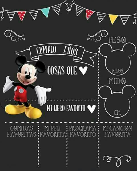 Mickey Hbd Invitation Pizarras De Cumpleaños Tablero De