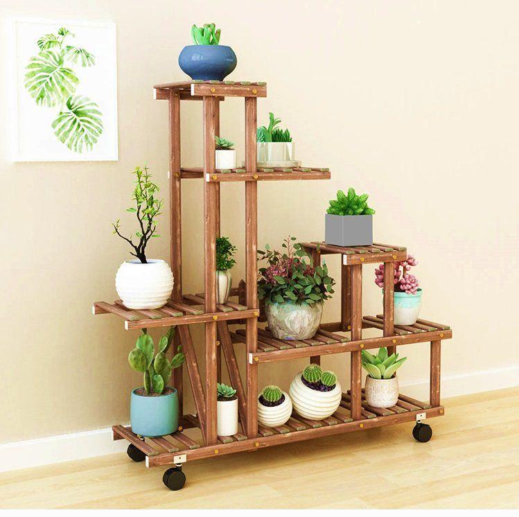 Maceta de madera soporte de madera planta exhibici n al for Jardin al aire libre de madera deco