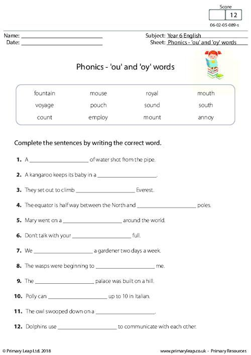 Primaryleap Phonics Ou And Oy Words Worksheet