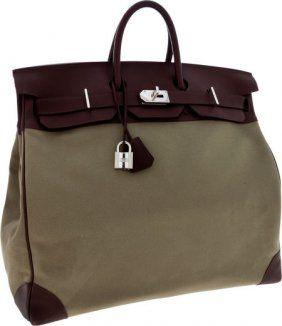 d6555eb3e65e Hermes 50cm Havane Swift Leather   Olive Canvas HAC Travel Birkin Bag with  Palladium Hardware