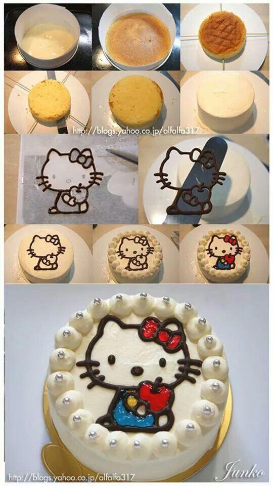 Paste de hello kity reposteria Pinterest Cake Kitty and