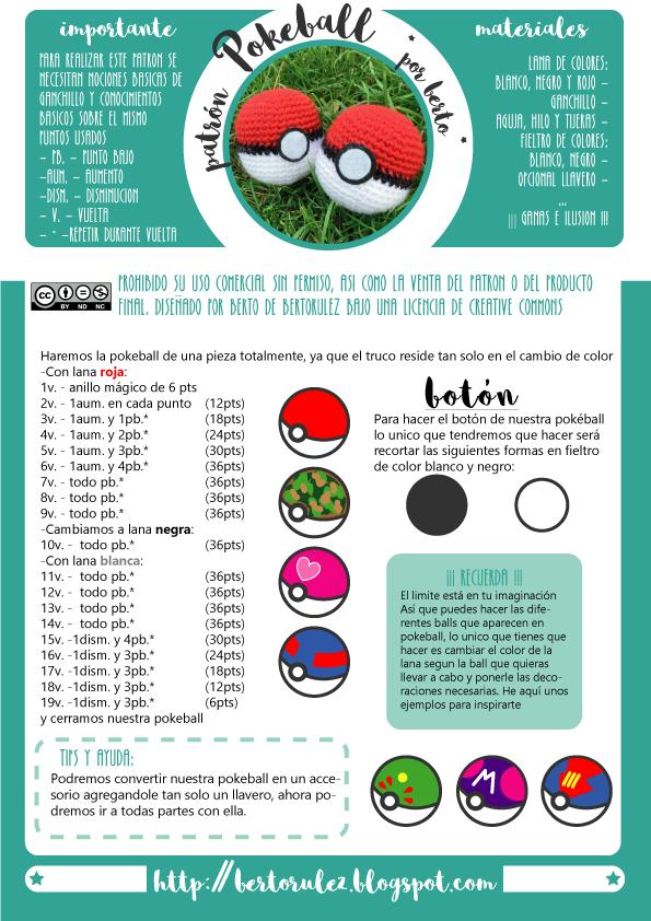 patron-pokeball.png (595×842)   crochet   Pinterest   Patrones and ...