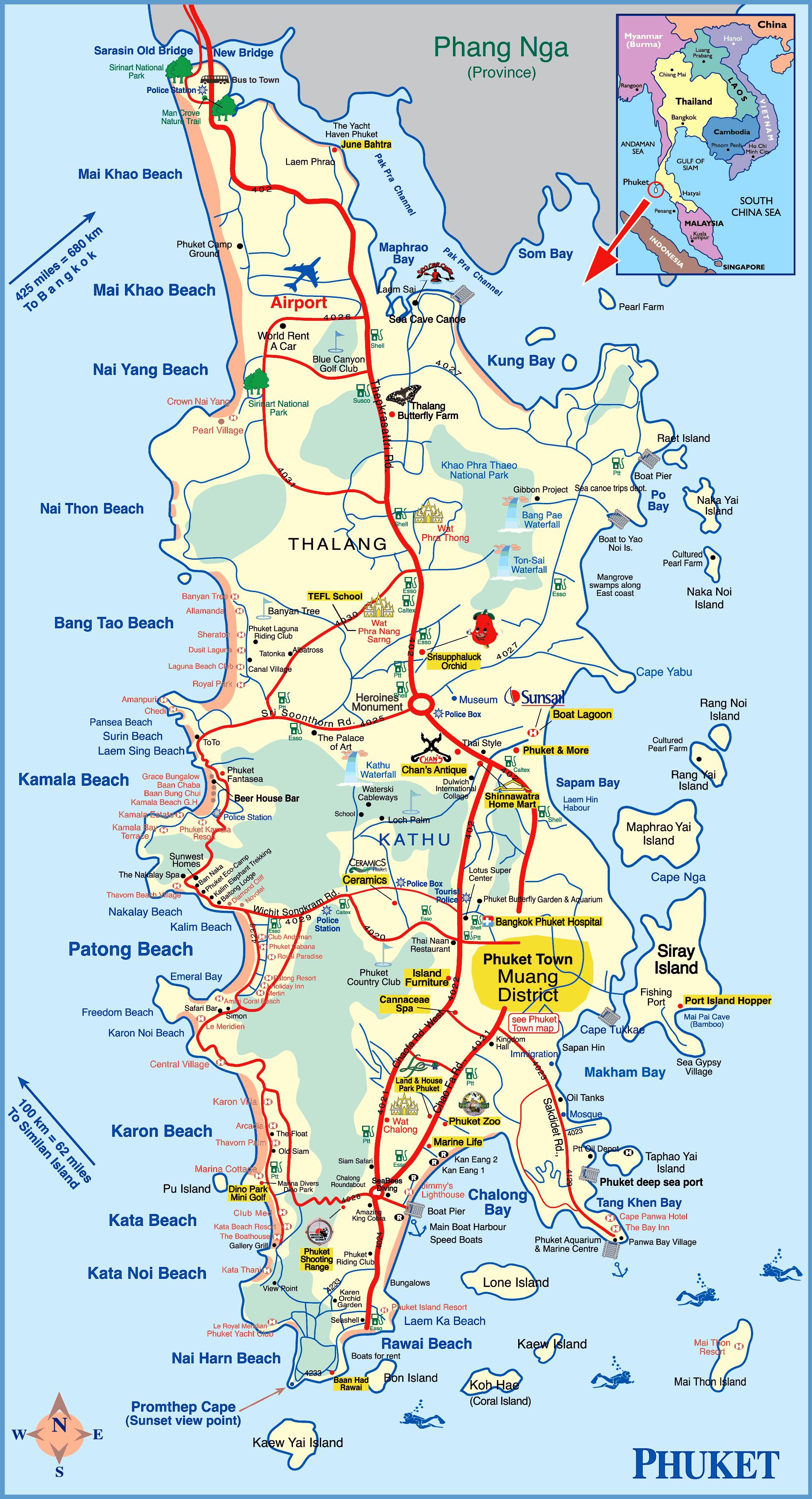 Phuket Island Map | Thailande carte, Phuket thaïlande, Phuket