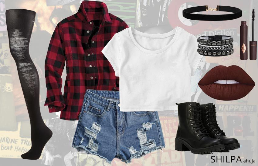7c5d0e1dda04 90s-grunge-fashion-outfit-ideas-flannel-ripped-tights-look