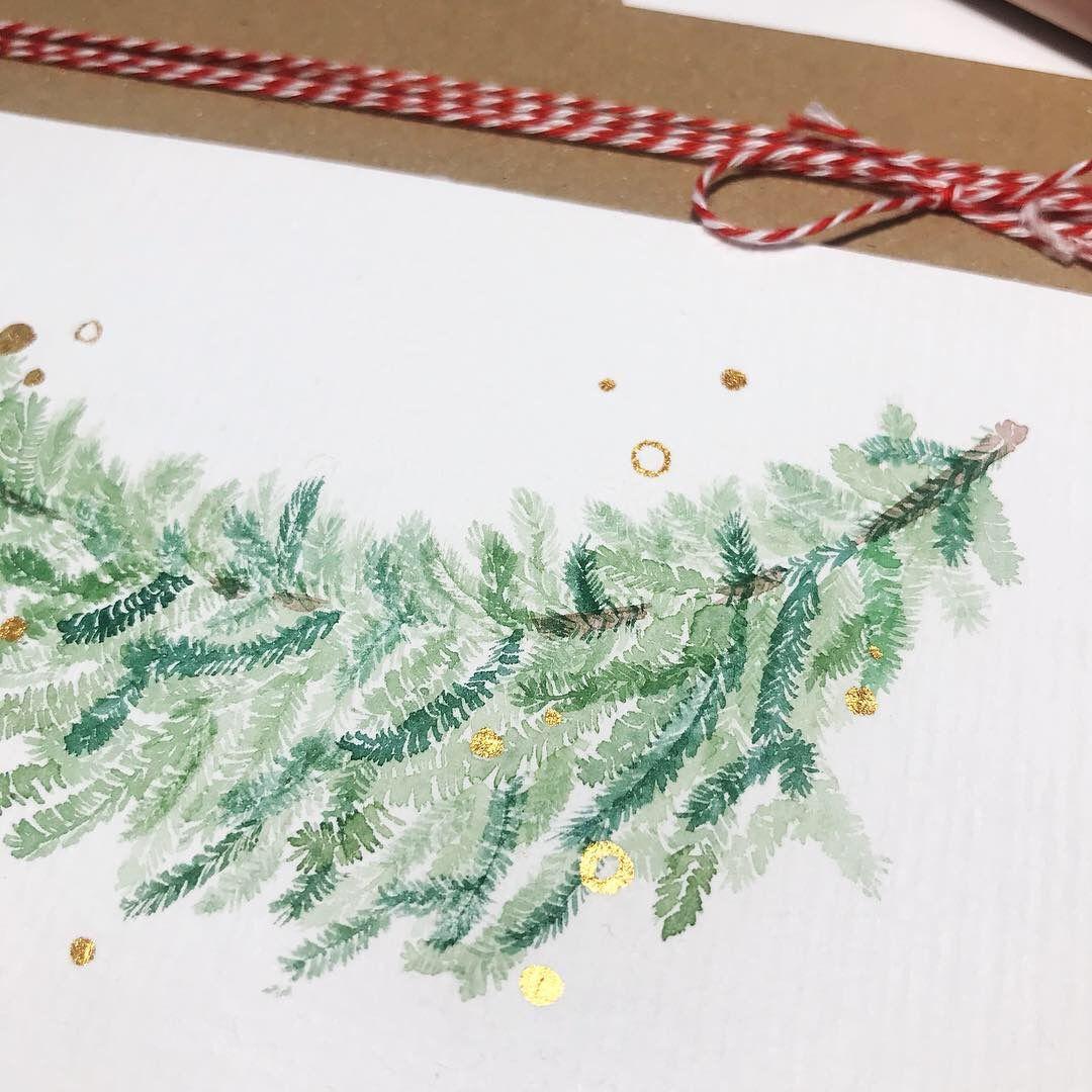weihnachtskarten selber machen tannenzweig floral idee. Black Bedroom Furniture Sets. Home Design Ideas
