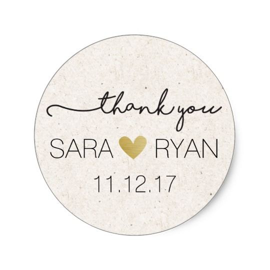 Personalized thank you stickers wedding favors classic round sticker