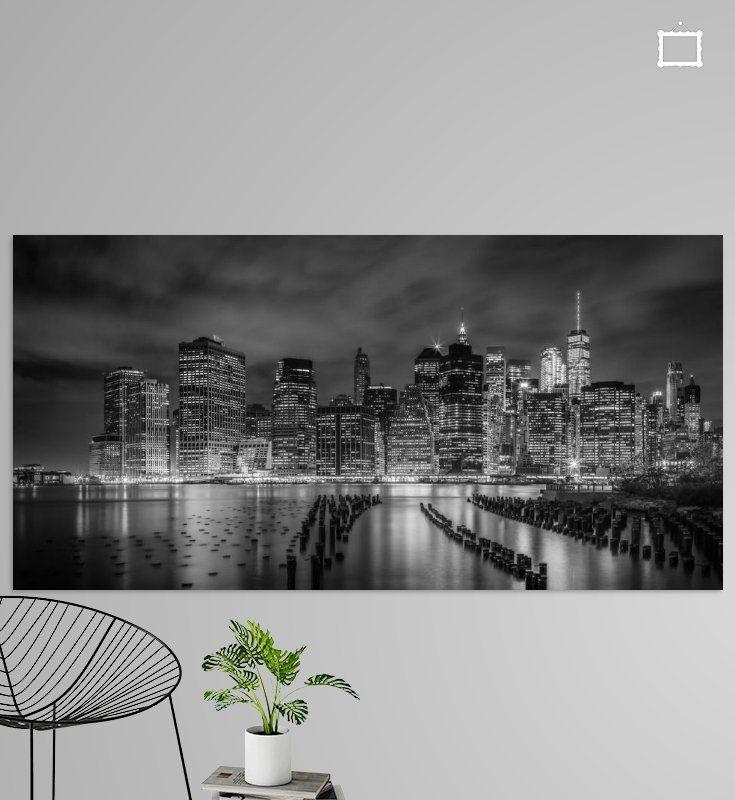 NEW YORK CITY Monochrome Impression bei Nacht Panorama von Melanie