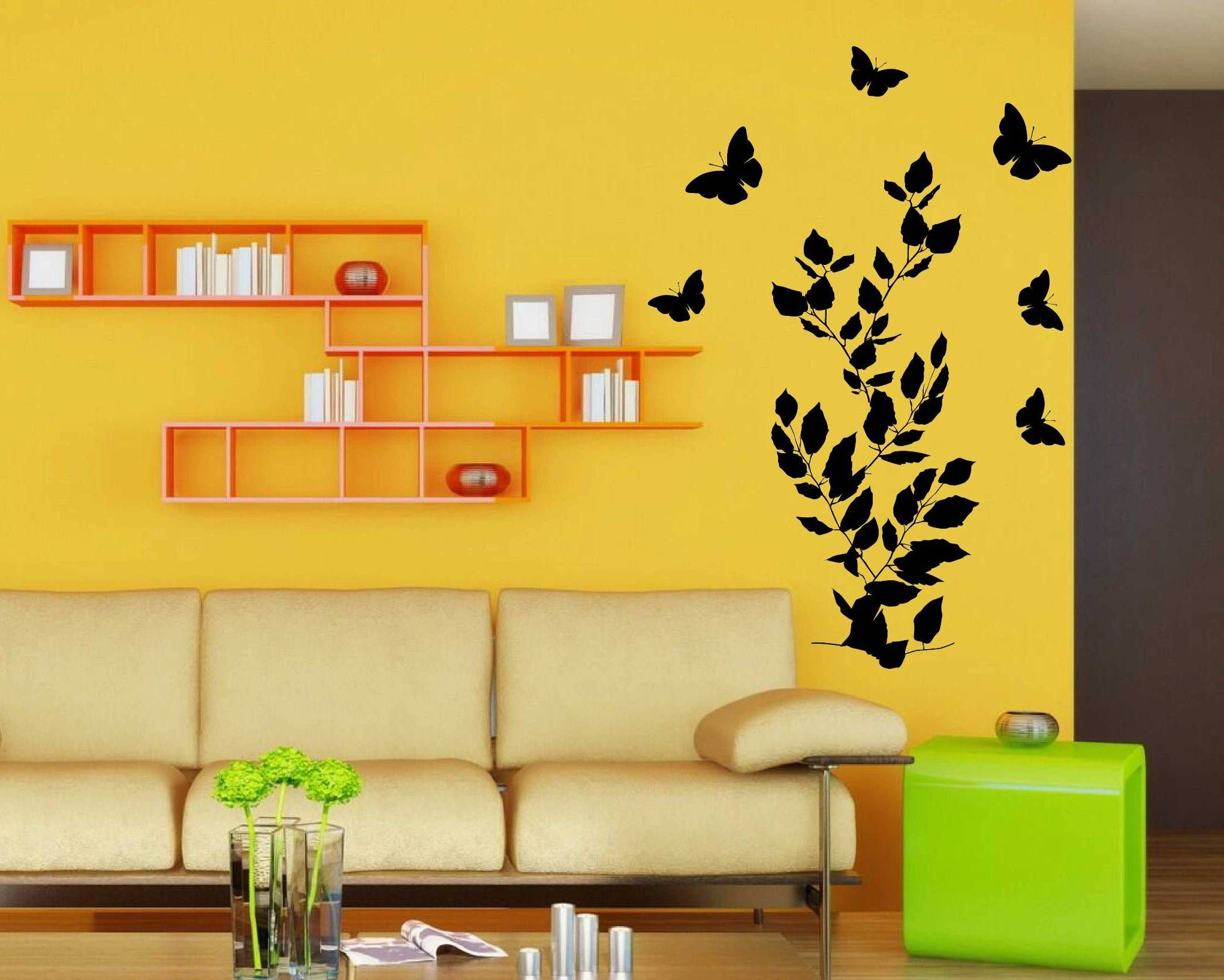 Butterfly  Leaves Wall Decal On A Yellow Wall Wall Decal - Yellow wall decals