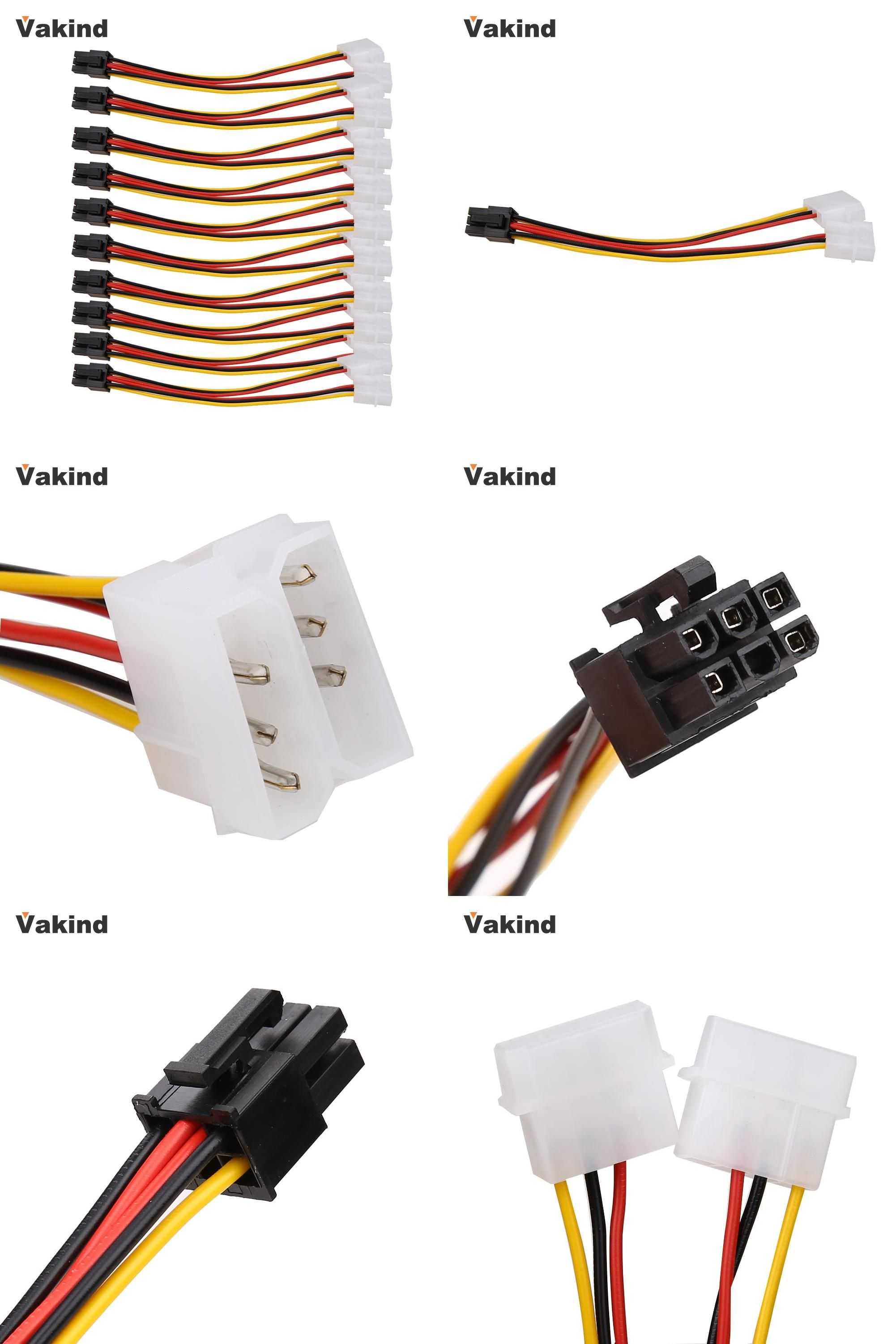 Visit to Buy] 10PCS Molex 4 Pin to PCI-E PCI Express 6 Pin Power ...