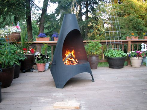 Outdoor Wood Burning Stoves Chiminea Patio Heater Fire