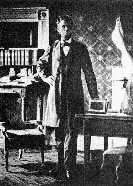 of the few photographs  of Lincoln inside the White House was taken in this room by Matthew Brady in 1864.  It was not until after the renovation of the White House undertaken during the Truman administration that this room became so exclusively associated with Lincoln.