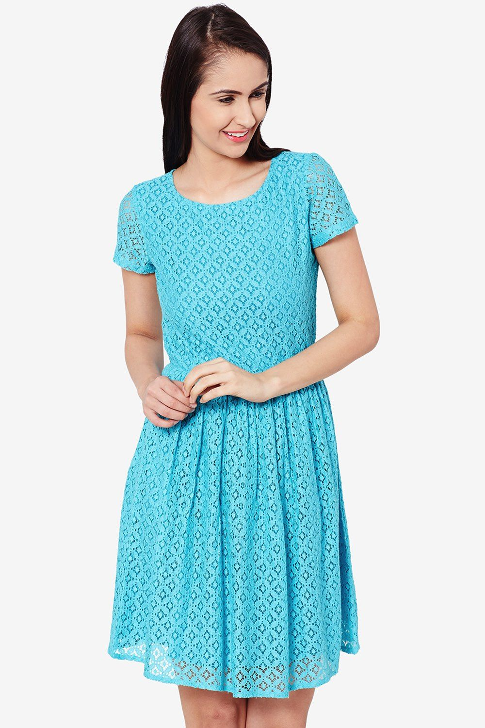teal-lace-skater-dress-for-partywear-drf500411 | THE GIRLY LACE ...