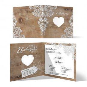 Hochzeitseinladung Hochzeit Wedding Rustikal Spitze Einladung