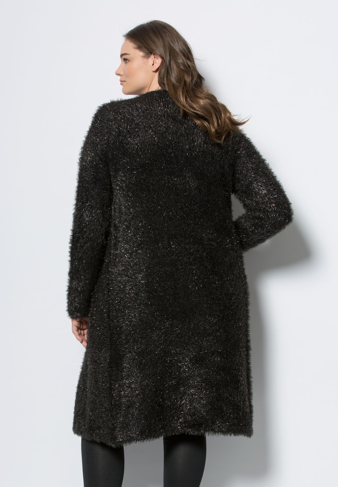 """This season is all about the eyelash cardigan.  relaxed silhouette crew neck open front long sleeves hem drops to about 40"""" polyester/acrylic, machine wash, imported  Women's plus size cardigans, sweaters, tops - eyelash cardigan by denim 24/7 In Style Now!A cardigan like this is all you need to look ultra chic."""