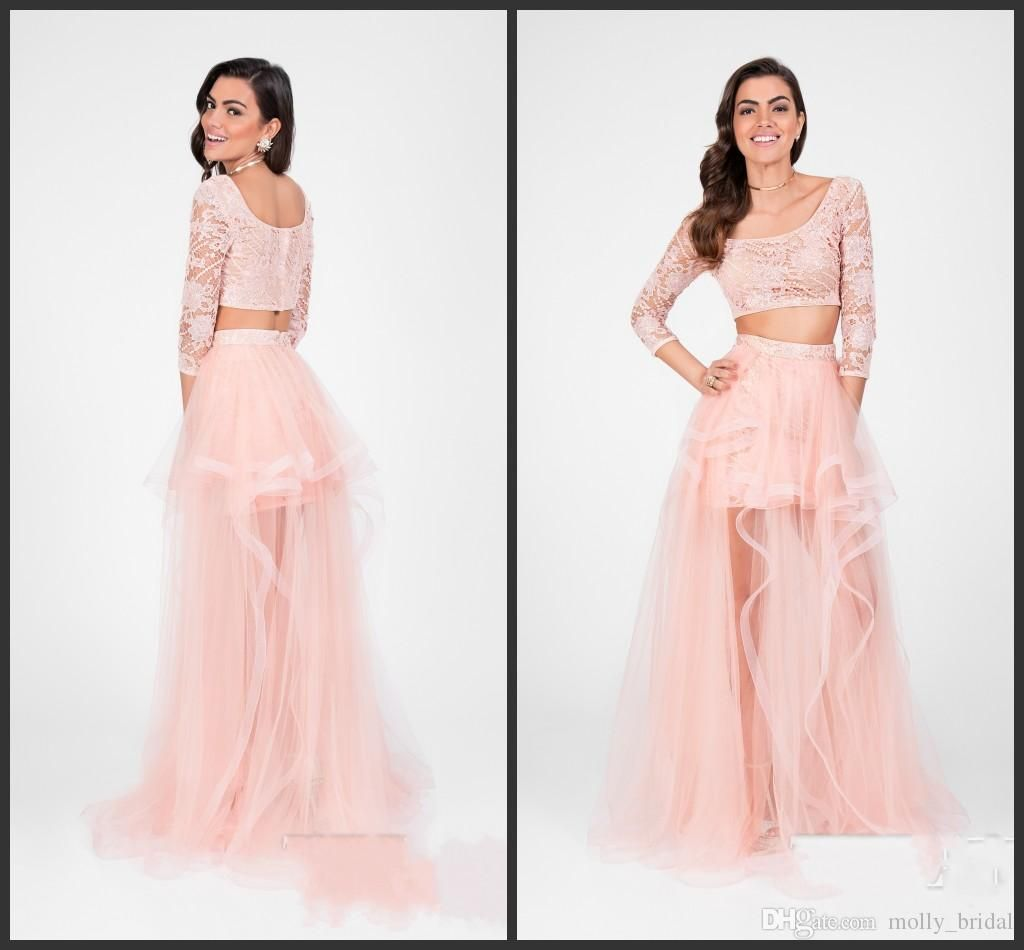 Blush Pink Long Sleeve Prom Dresses 2017 Vintage Lace Sheer Skirt ...