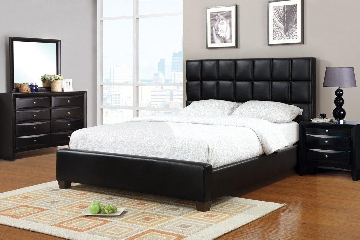 F9261 West Ridge Black Faux Leather Queen Bed West Ridge Black