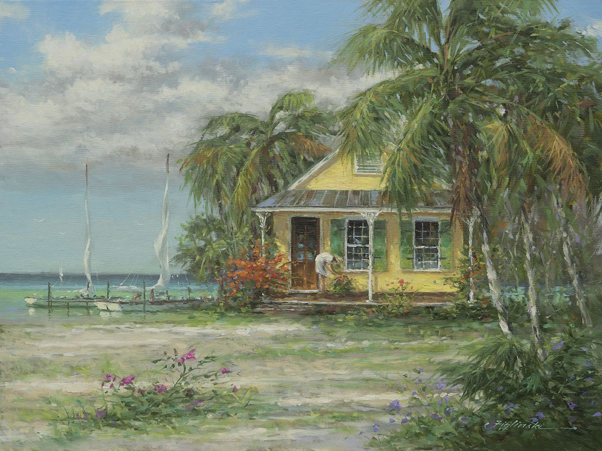Lemon Drop Cottage by Martin Figlinski, Oil, 12 x 16.#cottage #coastalcottage #cottagedecor #floridadecor #beachcottage #oilpainting #dailypaintworks  #interiordesign #decor #coastalliving #bahamas  #cottageart #Cottagestyle #beachcottage #figlinski  #cottagestyledecor #cottagecharm #cottagelife #cottageart #cottagehome #homedecor #oilpainting #artcollector  #coastalcottage  #coastaldecor #coastalliving #gifts #tommybahama #tommybahamahome #figlinski #tropicalart  #keywest