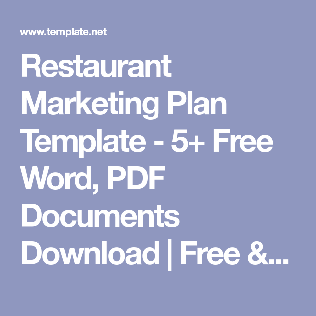 Restaurant Marketing Plan Template - 5+ Free Word, Pdf Documents