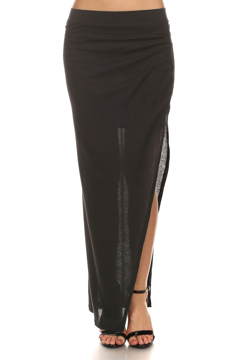 Eliana - Black Maxi Skirt with Thigh Slit