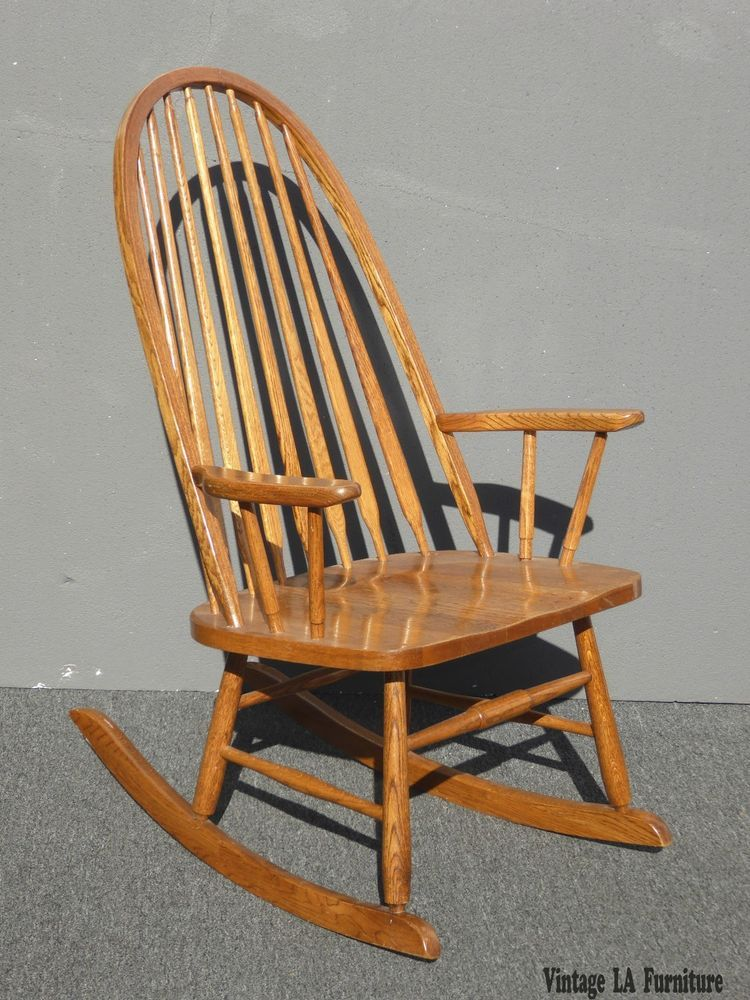 Vintage Mid Century French Country Oak Windsor Rocking Chair By Royola  Pacific #WindsorFrenchCountry #RoyolaPacific