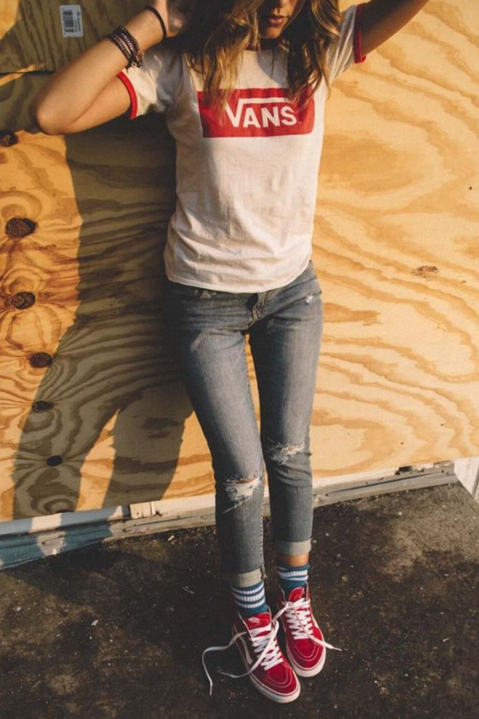 imagepenny lane on babe  red vans outfit fashion