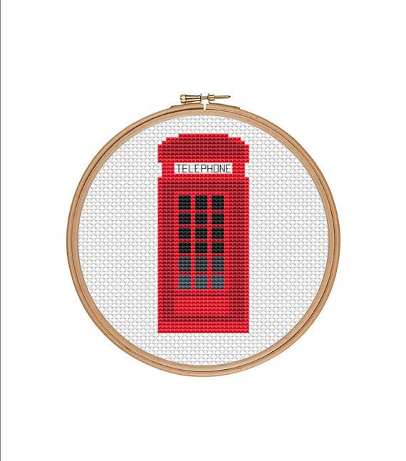 London phone booth cross stitch pattern | Red phone booth cross