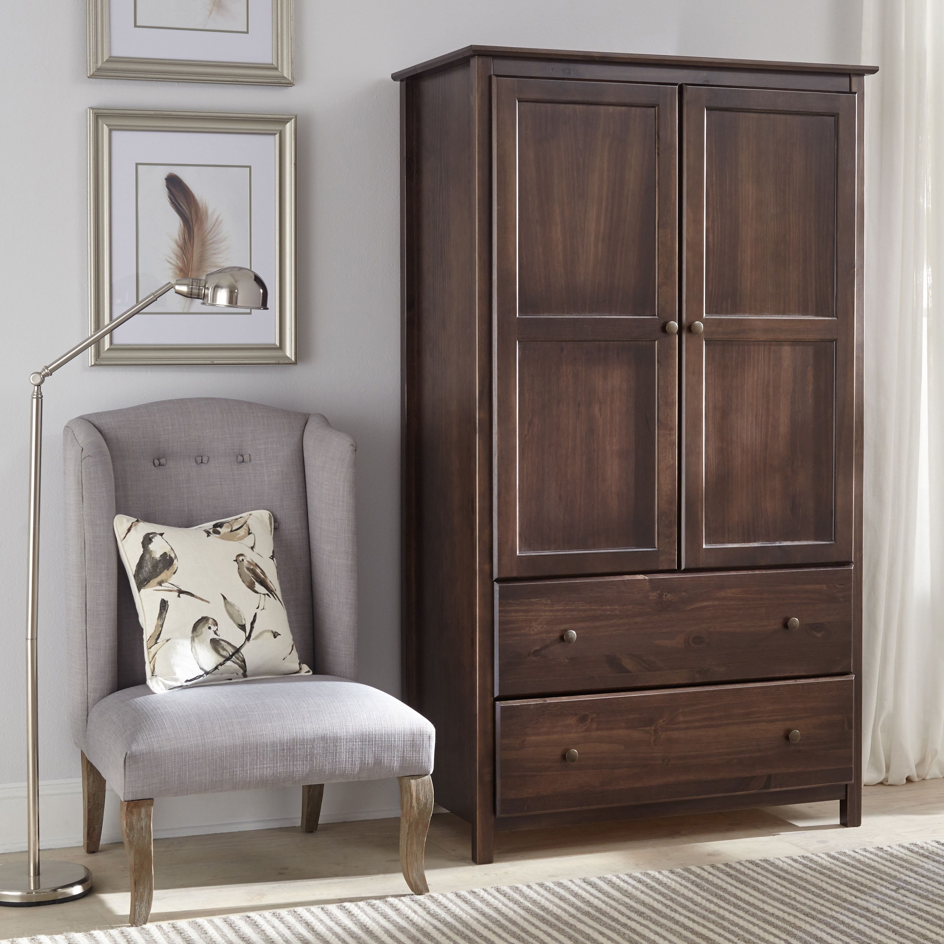 Grain wood furniture shaker style espresso brown 2 door - Espresso brown bedroom furniture ...