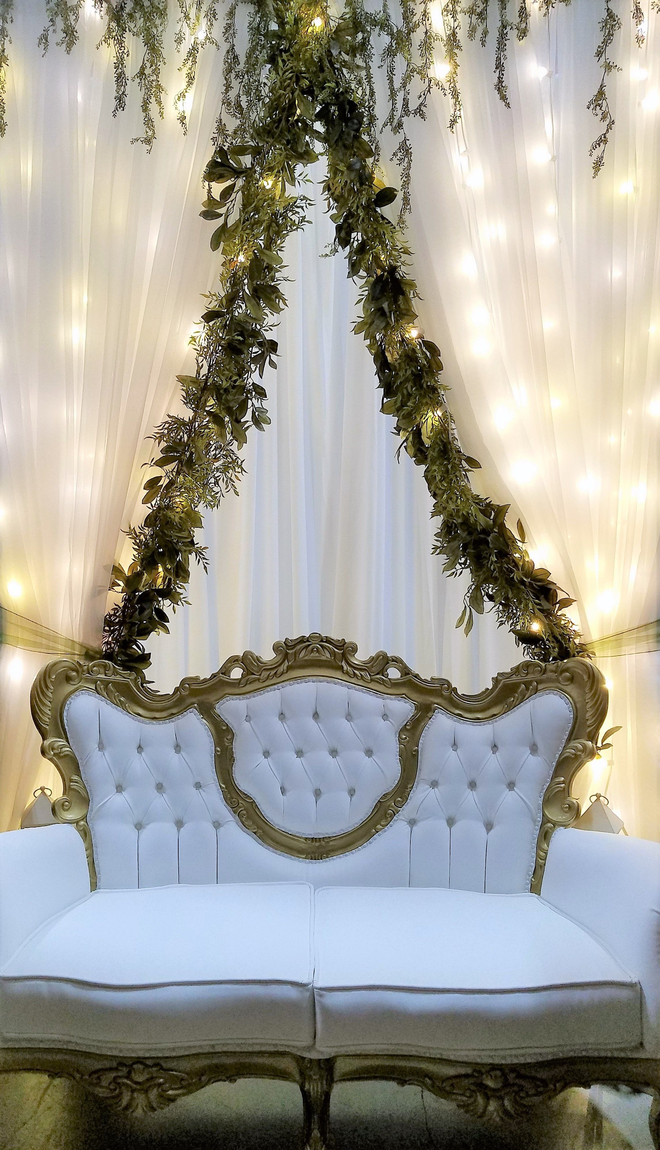 Groovy Victorian Couch In Front Of A Sheer Backdrop With Greenery Machost Co Dining Chair Design Ideas Machostcouk