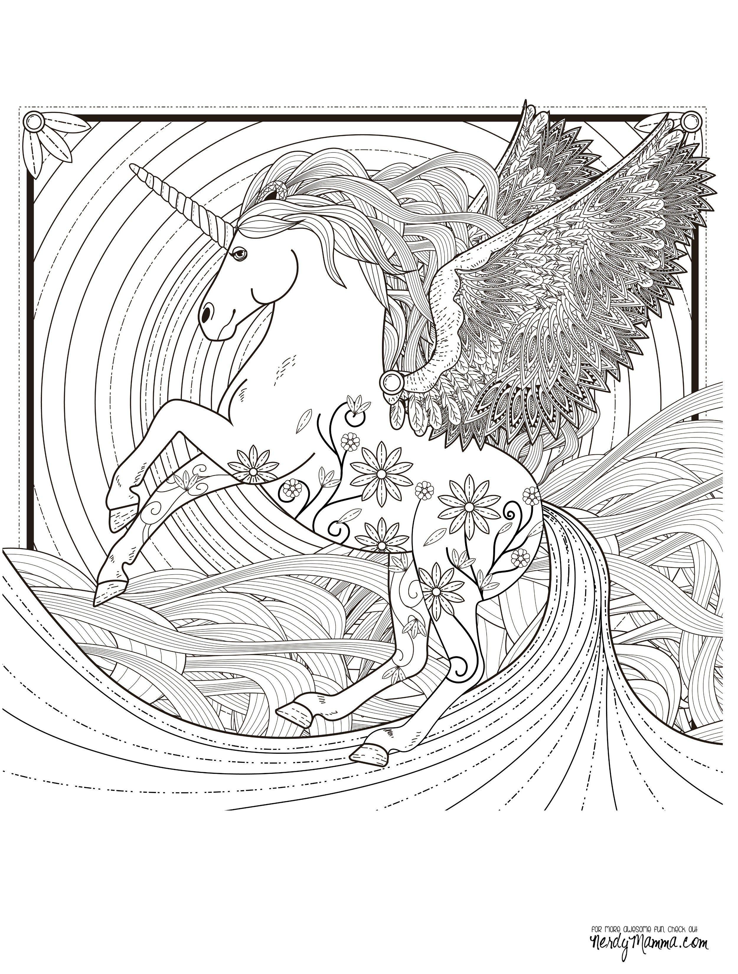 11 Free Printable Adult Coloring Pages Unicorn coloring