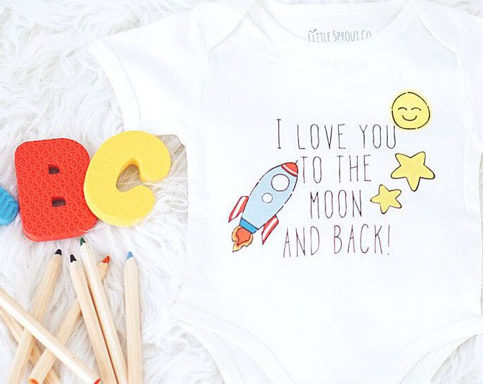 Rocket onesie , certified organic, organic bodysuit, little sprout company, certified organic baby clothes, I love you to the moon and back