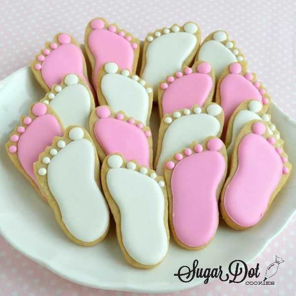 Sugar dot cookies baby feet and princess crown cookies for Baby feet decoration