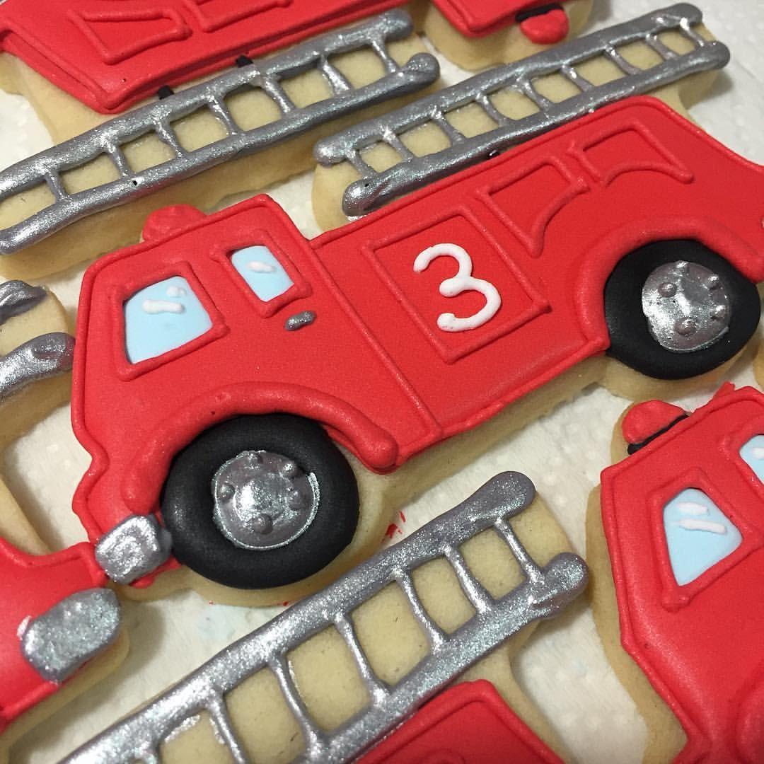 Working on the finishing touches. #firetruck #firetruckcookies #firefighterbirthday #thirdbirthdayparty #boysbirthdayparty #bakinginheelscookies