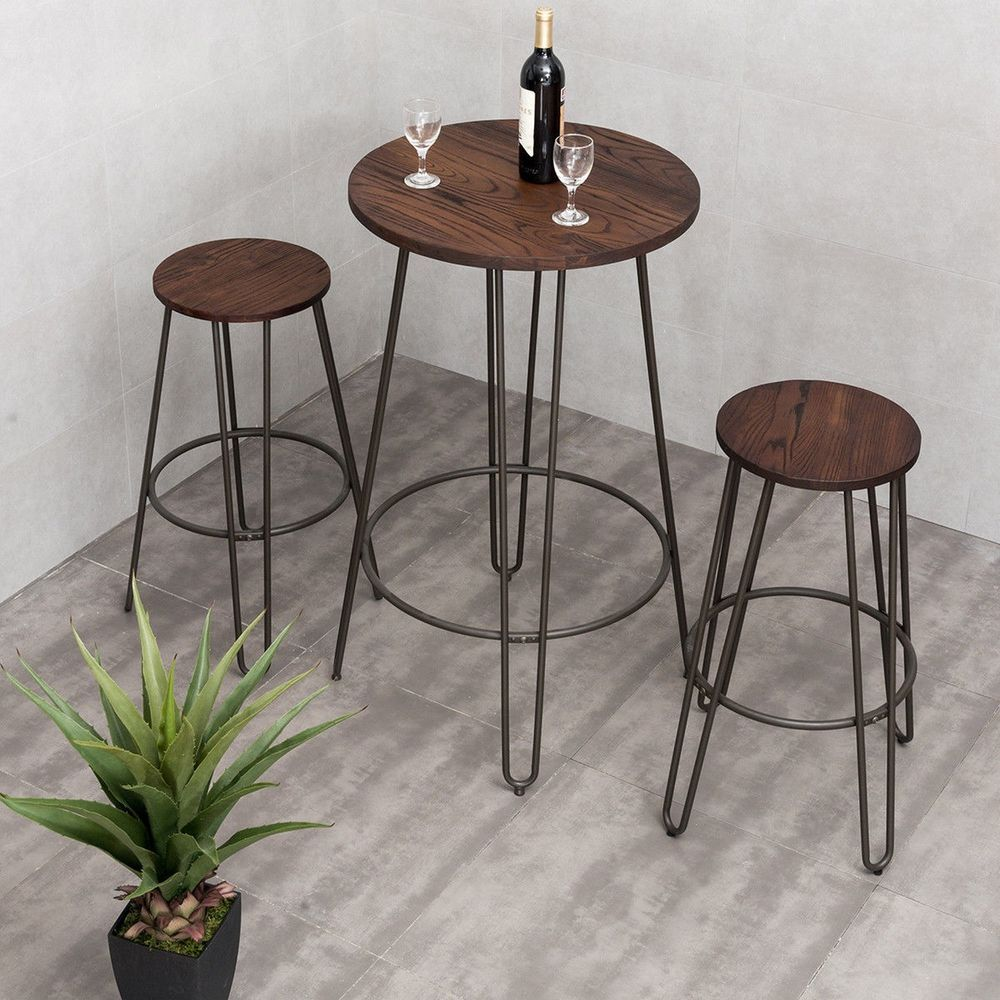 3 Piece Pub Bar Set Steel Wood Round Table Height Counter Chairs Stool Furniture Gymax Round Bar Table Pub Table Sets Bar Table Stools