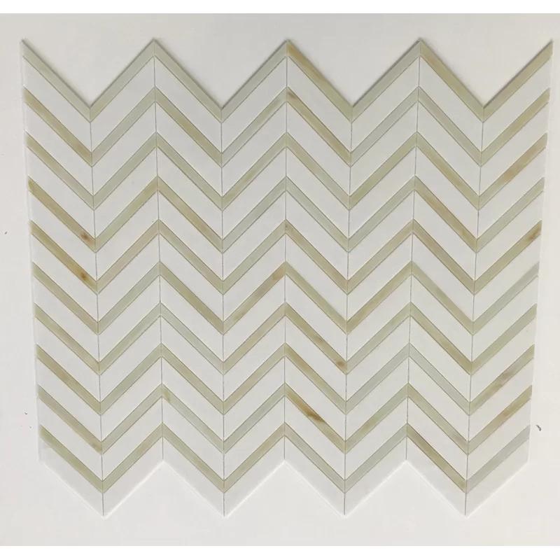 La Maison en Pierre Florence Stained Chevron Random Sized Glass Mosaic Tile | Wayfair