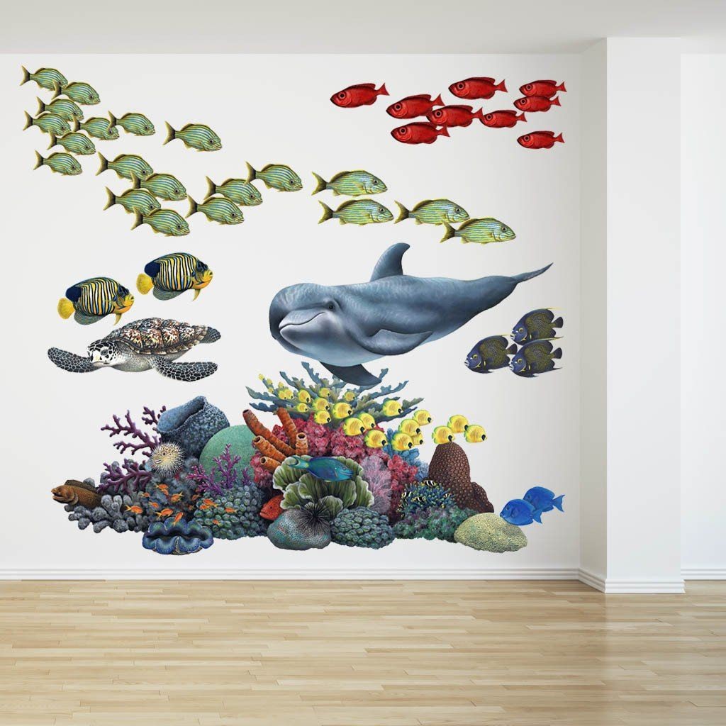 Coral Reef Tropical Fish Mural Wall Decal Sticker Combo  sc 1 st  Pinterest & Coral Reef Tropical Fish Mural | Pinterest | Tropical fish Coral ...