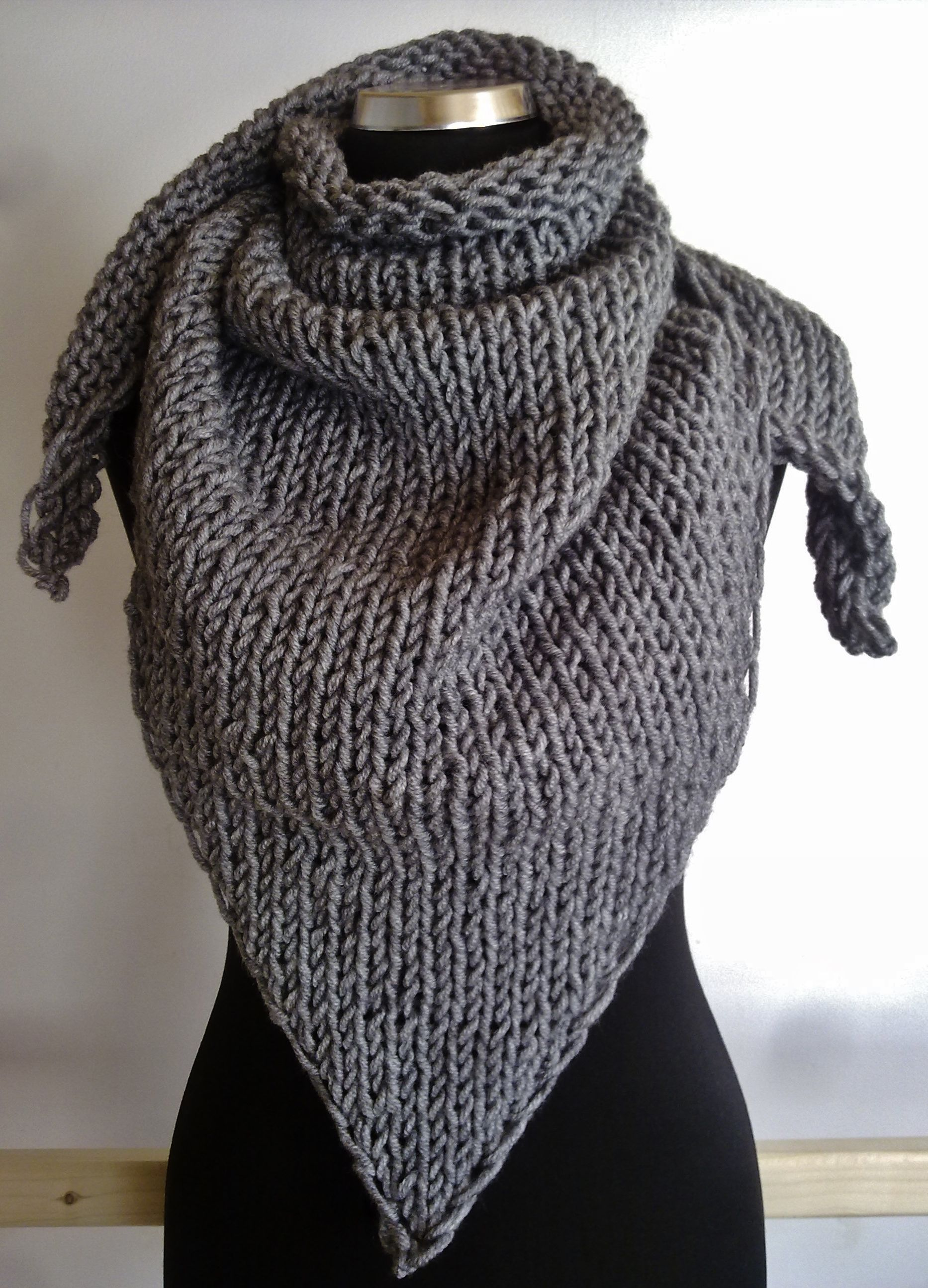 big #grey #handknitted #kerchief  for cold winter days ^^ KrisztiKecskes - fall/winter 2014