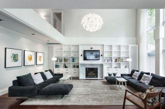 Desain Ruang Keluarga Minimalis Bernuansa Abu-abu dan Putih