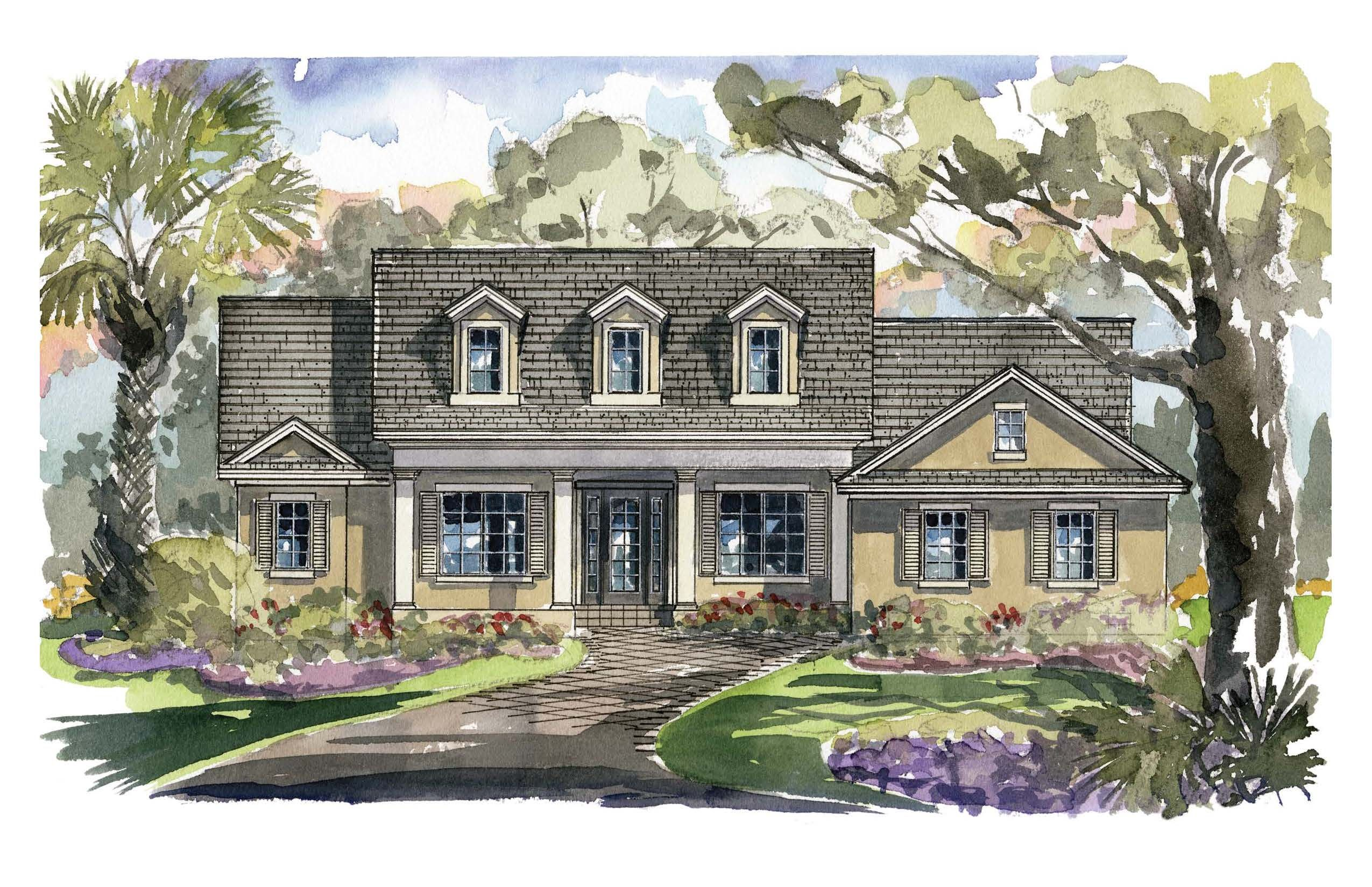 Front Elevation Amelia, The Low Country Style Elevation, Dormer Windows,