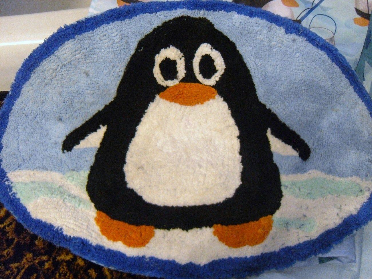 Penguin Shower Curtains Bath Set Rug Soap Dish Curtain